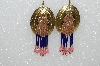 "MBA #S51-502   ""Fancy Concho Pink & Blue Bead Earrings"""