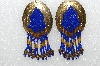 "MBA #S51-560    ""Concho  Hand Beaded Blue & Gold Bead Earrings"""