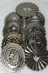 "MBA #S51-573   ""Antiqued Silvertone Lot Of 9 Large Metal Conchos"""