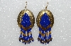 "MBA #S51-559   ""Concho Hand Beaded Blue & Gold Bead Earrings"""