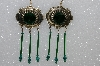 "MBA S51-468   ""Green Bead, Crystal & Gemstone Concho Earrings"""