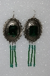 "MBA #S51-462   ""Green Rhinestone, Bugle Bead & Crystal Bead Concho Earrings"""