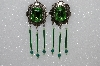 "MBA #S51-493   ""Green Rhinestone, Bugle Bead, Crystal Bead & Gemstone Concho Earrings"""