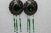 "MBA #S51-467    ""Green Rhinestone, Bugle Bead, Crystal Concho Earrings"""