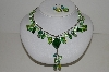 "MBA #S59-044   ""Fancy Bright Green Glass & Acrylic Bead Necklace & Earring Set"""