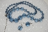 "MBA #S59-128   ""Fancy Blue Faceted  Acrylic Bead Necklace & Earrings Set"""