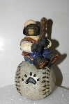 "**MBA #S25-141   ""Older Hand Carved & Painted Bear On Baseball"""