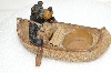 "**MBA #S25-298   ""Older Resin Cast Canoe & Bear Votive Candle Holder"""