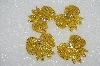 "MBA #S25-113  ""Set Of 4 Hand Beaded Gold  Bow Appliques"""