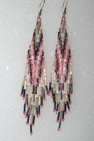 "MBA #S25-092  ""Fancy Hand Beaded Frosted White, Pink & Black Earrings"""