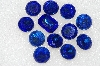 "MBA #S25-217   ""Vintage Lot Of 12 Large Blue Faceted Glass Rhinestones"""