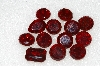 "MBA #S25-210   ""Vntage Lot Of 13  Large Faceted Red Glass Rhinestones"""
