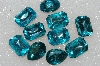 "MBA #S25-181   ""Vintage Lot Of 10 Aqua Blue Large Faceted Glass Rhinestones"""