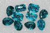 "MBA #S25-183  ""Vintage Lot Of 10 Aqua Blue Large Faceted Glass Rhinestones"""