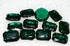 "MBA #S25-192   ""Vintage Lot Of 12 Dark Green Faceted Large Glass Rhinestones"""
