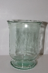 "MBA #S29-295   ""Older Made In Spain Green Glass Hurricane Vase"""