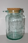"MBA #S30-149   ""1980's Large Green Glass Canister With Cork Top & Wooden Spoon"""