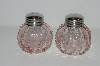 "MBA #S29-096    ""Fancy 2003 Pink Glass  Salt & Pepper Shakers"""