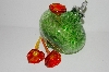 """SOLD""     MBA #S29-021   ""Beautiful Green Glass Bird Feeder"""