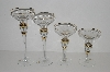 "MBA #S29-052    ""1980's Set Of 4 Clear Glass & 14K Gold Trim Candlestick Holders"""