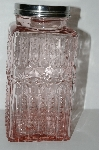 "MBA #S29-099   ""2003 Fancy Embossed Pink Glass Jar """