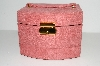 "**MBA #S29-070   ""Older Sueded Pink Pop-Up Jewelry Box With Mirror & Lock & Key"""