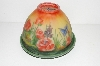 "**MBA #S29-071   ""Older Hand Painted Domed Rose Glass Tealight Holder"""
