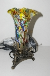 "MBA #S29-075   ""Fancy Multi Colored Glass Shade Three Horn Angels Table Lamp"""