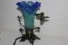 "MBA #S29-082   ""Older Blue/Green Glass Shade Butterfly Table Lamp"""