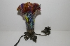 "MBA #S29-090   ""Older Fancy Purple & Multi Colored Glass Shade Angel Table Lamp"""