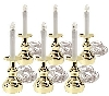 """SOLD""  MBA #S25-H51112   ""Set Of 6 Brass Window Candles With MasterGlow"""