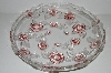"**MBA #S29-224     ""Large Beautiful Mikasa Walther Carmon Rose Round Glass Rose Serving Tray"""