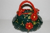 "+MBA #S29-216   ""Collectiable Green & Red Poinsetta Hand Bag Cookie Jar"""