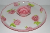 "+MBA #S29-207   ""White With Pink Roses  Zrike Everyday Rose Ceramic Chip & Dip Serving Platter"""