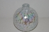 "MBA #30-206   ""White Opalecent  & Clear Glass Hand Blown Glass Oil Lamp"""