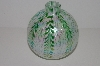 "MBA #S30-203   ""Opalecent & Green Hand Blown Glass Oil Lamp"""