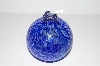 "MBA #S30-211   ""Dark Blue Fancy Hand Blown Glass Oil Lamp"""