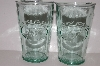 "MBA #S30-229    ""1980's Set Of Two Green Glass ""Apsolutly Pure Milk"" Glass's"""