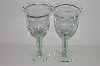 "MBA #S30-110   ""Made In Spain Set Of 2 Large Green Glass Wine Glass's"""