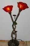 "MBA #S30-114   ""Beautiful Double Red Rose Table Lamp"""