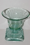 "**MBA #S30-135   ""2003 Riekes Spanish Green Glass Footed Tulip Vase"""""