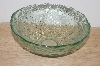 "MBA #S30-140   ""1980's Sea Green Glass Grapes & Leaves Embossed Serving Bowl"""