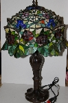 "MBA #S30-027   ""Garden Of Roses Stained Glass Table Lamp"""