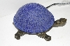 "MBA #S30-084   ""2003 Blue Lighted Crackle Turtle Accent Lamp"""