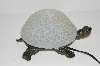 "MBA #S30-065   ""2003 White Crackle Lighted Turtle Accent Lamp"""