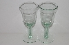 "MBA #S30-175   ""1980's Set Of 2 Made In Spain Green Wine Glass's"""