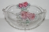 "MBA #S30-174   ""Beautiful Clear Glass Serving Bowl With Embossed Pink Roses"""