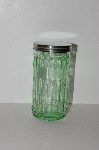 "MBA #S13-212   ""2002 Depression Glass Green Storage Jar With Metal Lid"""