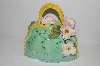"+MBA #S13-234     ""Beautiful Green Three Demensional Floral Hand Bag Cookie Jar"""