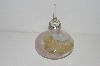 "MBA #S13-001   ""Clear,Pink,Gold & White Art Glass Perfume Bottle With Glass Stopper"""